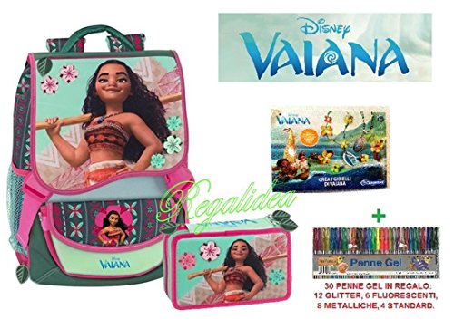 Mochila Extensible de Vaiana de Disney con correa + Estuche + joyas de juguete + 30bolígrafos + colgante