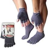 Full Toe Socks, Gray (Blue Line Grips, S/M) & Gloves Set, For Yoga, Pilates
