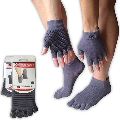 YogaAddict, calze e guanti, per qualsiasi tipo di yoga e pilates., Full Toe Yoga Socks, Grey with Grippy Lines, S/M