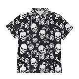 Ocuhiger Camisas con Botones A La Moda para Hombre Camisa Hawaiana con Estampado De Calavera Estampada En 3D Camisa Hawaiana De Manga Corta Hip Hop Beach Holiday Tops Blusa Negro