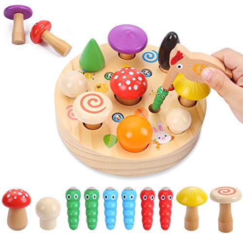 Ulikey Juguetes Montessori, Juguetes Educativo para Niños y Niñas, Insectos de Pájaro Carpintero Juguetes Rompecabezas Magnético para Bebés Años Niños Pequeños (D)