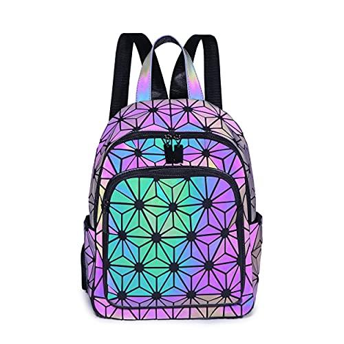 BESUURAN Geometrische Taschen Reflektierend Rucksack Damen, Handtasche Holographic Holo Schultertasche Geldbörse Geometrischer Leuchtende Taschen Set Handytasche NO.B