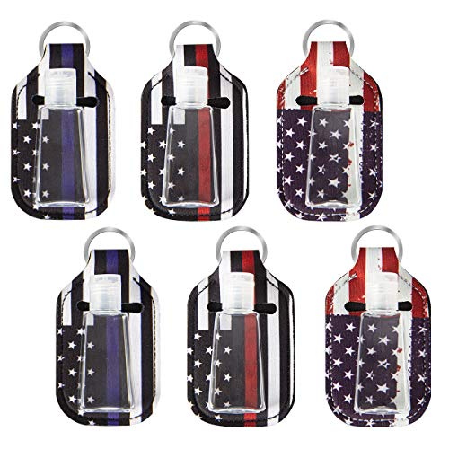 6 Pack Stars& Stripes Travel Size Bottle with Keychain Holder- 6pcs 30ml 1 Oz Flip Cap Reusable Bottles Refillable Containers with Cover Keychain Carriers for Soar Soap Lotion Liquids (Stars& Stripes)