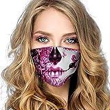 HOUMENGO 1 Stück Halloween Mundschutz für Erwachsene, Wiederverwendbare Waschbare Gesicht Schal Bunt Mundschutz, Atmungsaktive Verschmutzung Gesichtstuch für Männer und Frauen Halloween Party (D2)