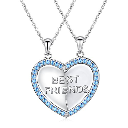 S925 Sterling Silver Best Friend Necklaces Heart 2 Piece Gifts Women Teen Friendship BFF Pendant Necklace Set Christmas Gift