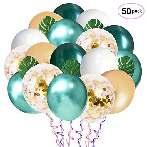 Dschungel Geburtstag Luftballons Dekorationen, 12 Zoll Grün Weiß Gold Latex Luftballons mit Palmblättern für Babyparty, Tropische Dekoration, Geburtstagsfeier Hintergrund Dekorationen (50 stück)