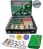 Professional Set de póker Caja de Metal, 500 fichas de pókerr, 2 Cubiertas, botón de repartidor, ciega pequeña, Gran ciega, tapete de Juego