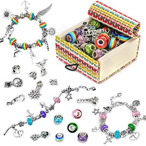 Ucradle Girls Charm Bracelet Making Set, Jewellery Making Kit DIY Silver Plated Bead Snake Chain Jewelry Bracelet with 18 Beads 3 Plated Silver Chains 35 PCS, Nice Gifts For Girls, Present For Kids