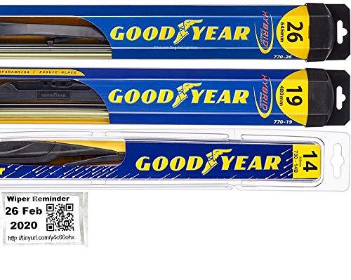 Windshield Wiper Blade Set/Kit/Bundle for 2014-2017 Infiniti QX70 - Driver, Passenger Blade & Rear Blade & Reminder Sticker (Hybrid with Goodyear Rear)