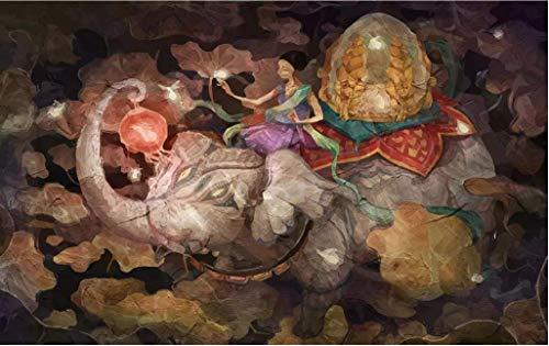 LONGYUCHEN Benutzerdefinierte 3D Seide Wandbild Tapete Ölgemälde Stil Indischer Elefant Laterne Geeignet Für Schlafzimmer Wohnzimmer Hotel Wanddekoration Wandbild,160Cm(H)×250Cm(W)
