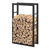 [en.casa] Soporte para leña 60 x 100 x 25 cm Estante de leña Acero Negro