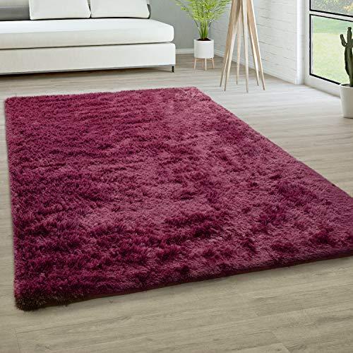 Alfombra Salón Pelo Largo Piel Sintética Shaggy Mullida Y Suave En Monocolor, tamaño:160x220 cm, Color:Púrpura