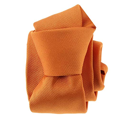 Tony & Paul. Cravate. PAUL, Soie. Orange, Uni. Fabriqué en Italie.