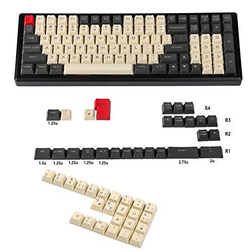 YMDK Lasergravierte UK-Tastenkappe für mechanische MX-Tastatur YMD96 KBD75 104 87 61 (Carbon Deutsch ISO)