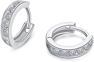 Small CZ Hoop Earrings For Women Teen Girls Cuff Cartilage Pierced Cubic Zirconia 925 Sterling Silver Tiny Hinged Huggie Diamond Hoops Hypoallergenic Jewelry Wedding Birthday Gift for Bridesmaids