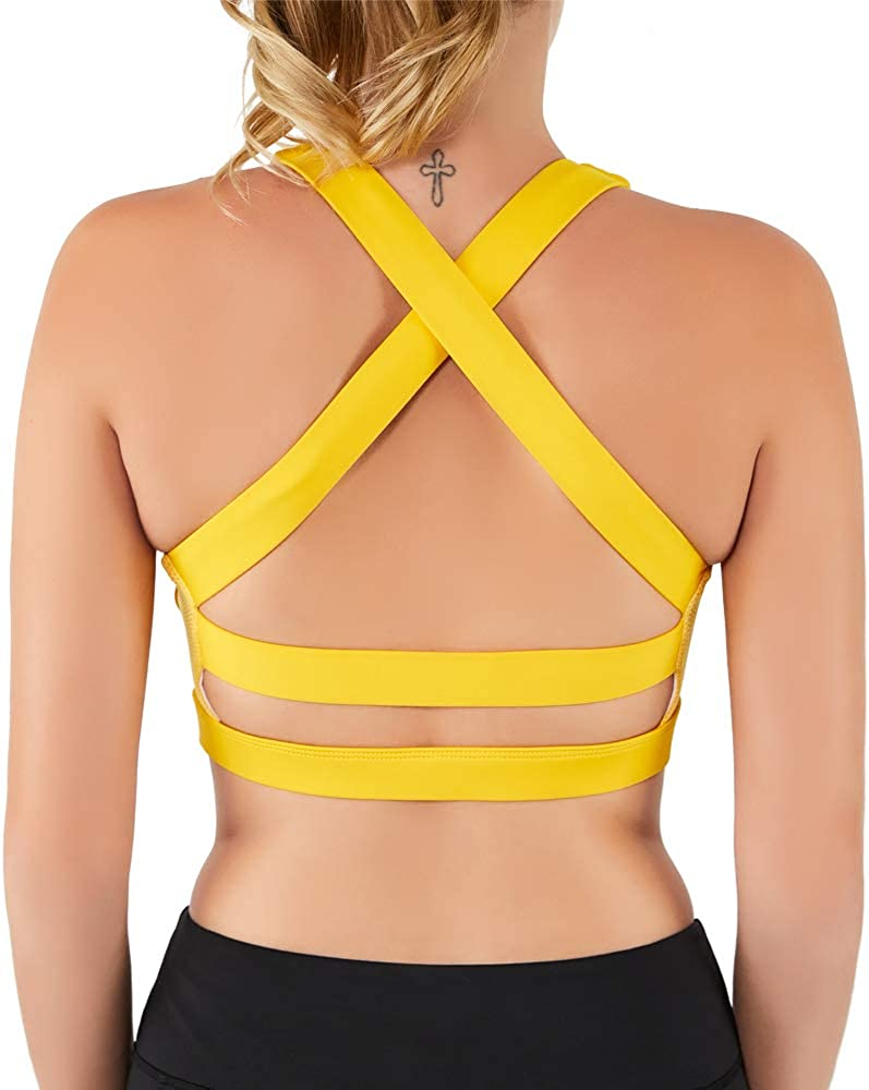 Women Sports Bra, Max Supportive Mesh Tops Activewear Fitness Workout Running Yoga Bras