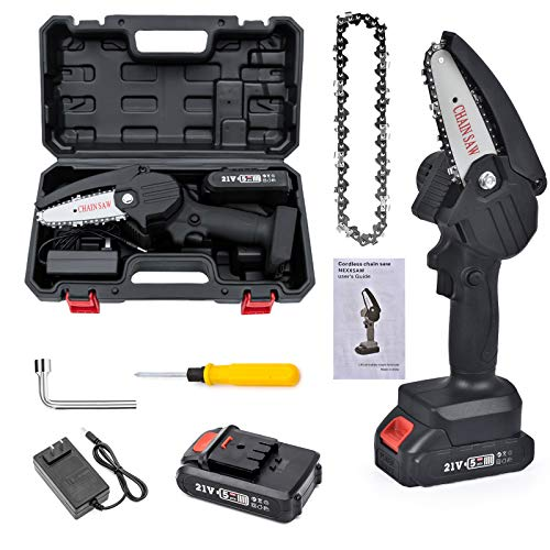 Mini Chainsaw with Tool Case, One-Handed Cordless Electric Portable Battery Chain Saw with charger & 2Pcs Chains, 0.7kg Lightweight Electric Hand Chainsaw for Cutting Wood