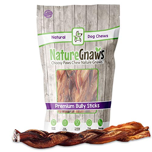 Nature Gnaws Monster Braided Bully Sticks for Large Dogs - Premium Natural Beef Bones - Long Lasting Dog Chew Treats for Aggressive Chewers - Rawhide Free - 12 Inch (3 Count)