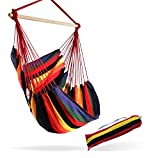 Large Brazilian Hammock Chair by Hammock Sky - Cotton Weave - Extra Long Bed - Hanging Chair for Yard, Bedroom, Porch, Indoor / Outdoor (Hot Colors)