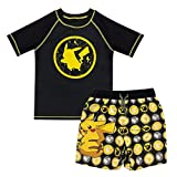 Pokemon Pikachu Toddler Boys Rash Guard Swim Trunks Set Black/Yellow 4T
