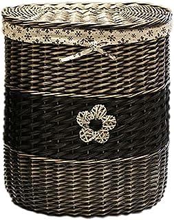 Panier de rangement à linge en rotin avec couvercle, panier à linge ménagère rural/blanchisserie panier pour chambre à cou...