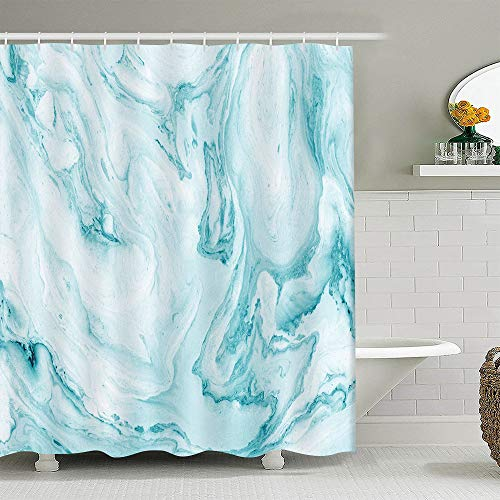 EARVO Abstract Watercolor Marble Shower Curtain Abstract Ink Art Gold Teal Blue Green Jade Mixed Pastel Cracked Line Bath Curtain Concise Design for Family Bathroom with 12 Hooks 72x72 inches YLLLEA99