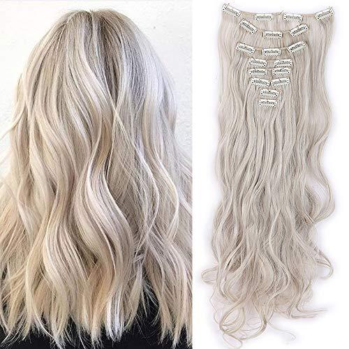 TESS Clip in Extensions wie Echthaar Haarteile günstig Haarverlängerung 8 Tressen 18 Clips Ombre Haarteil Gewellt 24