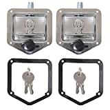 2Pcs Trailer Door Latch T-Handle Lock Highly Polished Stainless Steel Keys with Gasket - Folding T Handle Latch RV Camper Truck Trailer Toolbox