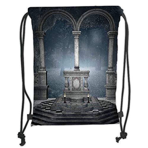 Fevthmii Drawstring Backpacks Bags,Gothic,Altar on Checkered Floor in Scary Hazy Winter Forest Spiritual Scenery Illustration,Blue Grey Soft Satin,5 Liter Capacity,Adjustable String Closure