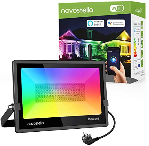 Novostella Faretto LED Inteligente RGB WiFi 100W, 10000LM Proiettore da Esterno Multicolore, Faro...