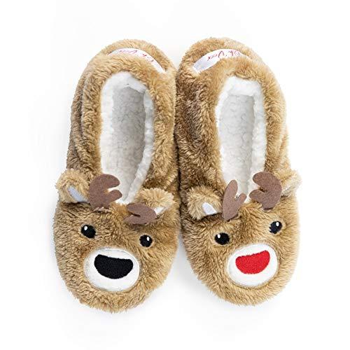 Faceplant Dreams - Oh Deer - Brown and White Reindeer Holiday Slipper Footsies Brown Size: 9-10 Wide