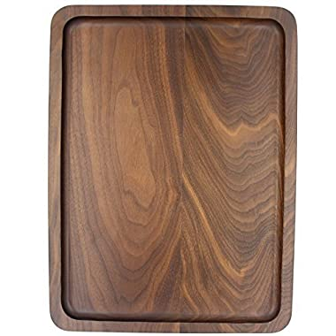 Bamber Wood Serving Tray, Black Walnut Pieced, Rectangular, 15.3 x 11.4 Inches