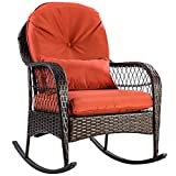 ARABYAN BROTHERS Patio Rattan Wicker Rocking Chair Porch Deck Rocker Outdoor Furniture W/Cushion