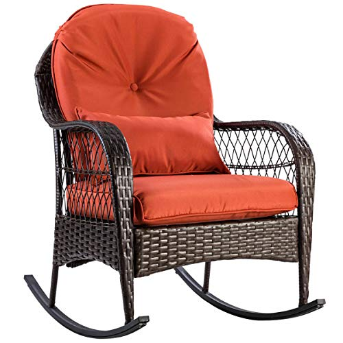 Heize best price Orange Cushions Patio Rattan Wicker Rocking Chair Porch Deck Rocker Outdoor Furniture W/Cushion Pool Beach Recliner (U.S. Stock)