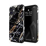 BURGA - Carcasa para iPhone 12, diseño de ónix negro y dorado con piedra dorada para mujer, resistente a golpes, doble capa dura + funda protectora de silicona