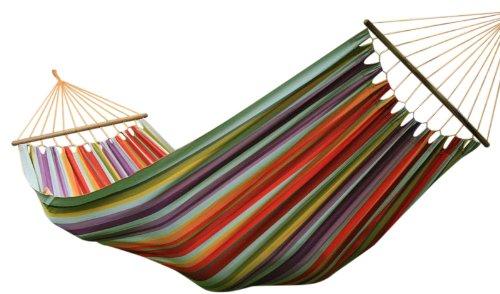 MacaMex Siesta Grande Deluxe Caribe Costa Rica - Hängemattenset Holzgestell Lärche mit bunter Stabhängematte