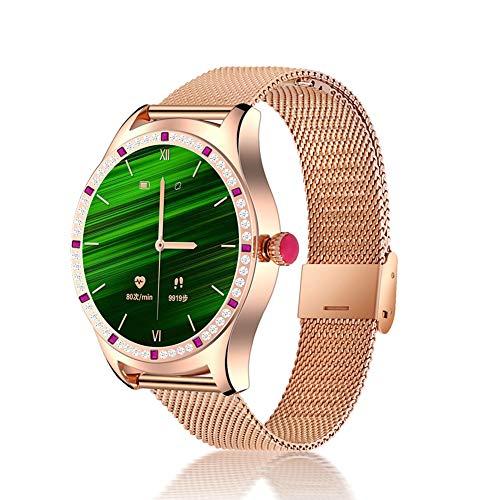 Women Smart Watch, Bluetooth Pulsera Llamada Ritmo cardíaco presión Arterial sueño Funciones Femeninas conexión TWS Auriculares música,Oro