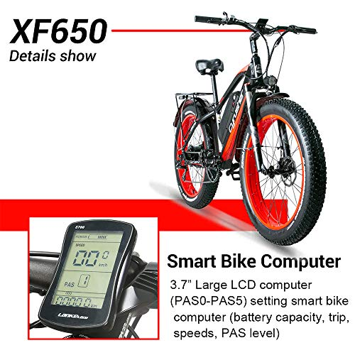 Cyrusher XF650 1000W Electric Mountain Bike 264 inch Fat Tire e-Bike 7 Speeds Beach Cruiser Mens Sports Mountain Bike for Adults,48V 13AH Lithium Battery Beach Cruiser for Adults(Blue)