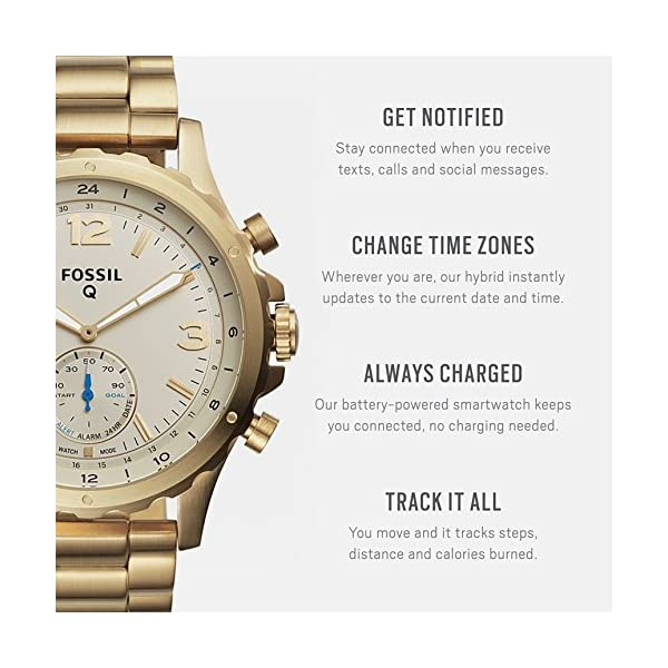 Fossil Q Men's Nate Stainless Steel Hybrid Smartwatch, Color: Gold-Tone (Model: FTW1142)