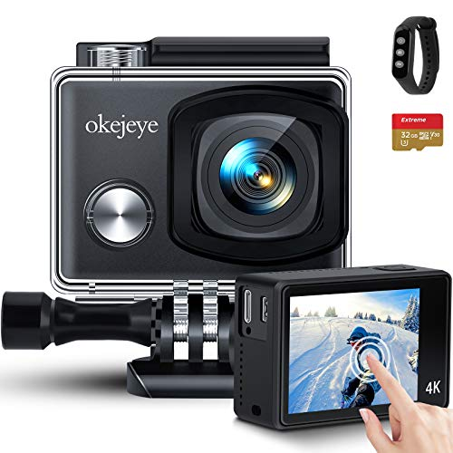okejeye 4K Action Camera OK800 Native 50fps/24MP Touch Screen 40M Waterproof Camera Underwater Camera WiFi Sport Camera EIS Web Camcorder with Remote Control and 32GB Micro SD Card