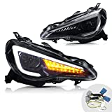 YUANZHENG Headlight Assembly Compatible for [2012-2019 Toyota 86 GT86 / 2013-2016 Scion FR-S / 2013-2019 Subaru BRZ] Dual Beam LED Headlamp Assembly with DRL Sequential Turn Signal, Plug-and-play
