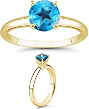 Vogati 4.70-5.40 Cts of 10 mm AAA Texas Star Cut Swiss Blue Topaz Ring in 14K Yellow Gold