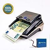 HILTON EUROPEO | HE-320 SD Detector Billetes Falsos portátil (con batería) | 8 SISTEMAS DE DETECCIÓN 100% TESTADO Banco Central Europeo | Actualizado a todos los billetes del sistema EURO