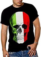 MAKAYA Camiseta Negra Hombre con Bandera Italia - cráneo