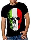 MAKAYA Camiseta Negra Hombre con Bandera Italia - cráneo - S
