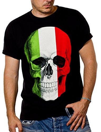 MAKAYA Camiseta Negra Hombre con Bandera Italia - cráneo - M