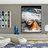 hetingyue Paisaje Mujer Lienzo Abstracto Arte de la Pared impresión póster decoración Imagen Sala decoración hogar sin Marco Pintura 30x45 cm