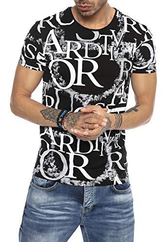 Red Bridge Moderna Camiseta Manga Corta con Estampado de aleación para Hombre Negro