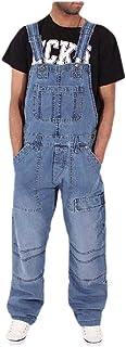 Macondoo Mens Plus Size Jean Loose Trousers Multi Pockets Denim Overalls Pants