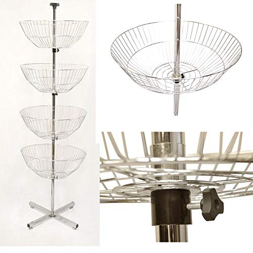 MH GLOBAL 63 inch High 4 Basket Display Wire Floor Tier Spinner Rack Dump Bin Retail Store